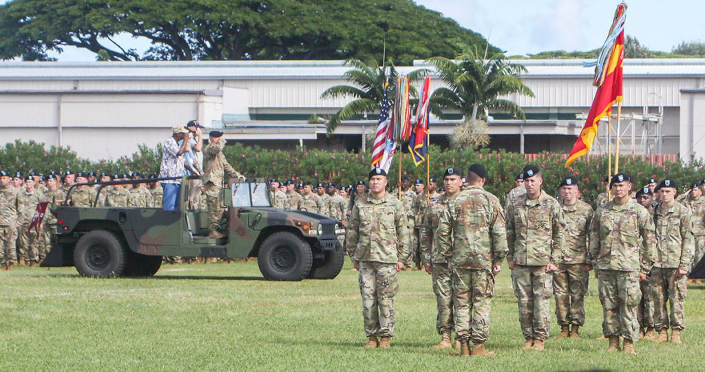 "MG Christopher Cavoli with the current President of the 25th IDA, William R. I. ""Easy"" Smith, at Schofield Barracks during Tropic Lightning Week in 2016."